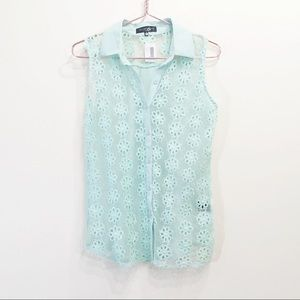 Lovely Girl Mint Lace Floral Blouse Size Small